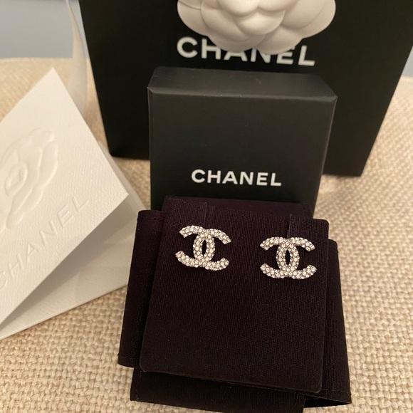 CHANEL Sparkling CC Logo Stud Earrings Crystal NEW